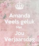 Amanda Veels geluk Met  Jou Verjaarsdag