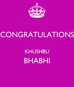 CONGRATULATIONS  KHUSHBU BHABHI