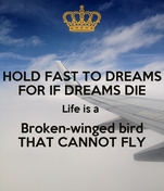 HOLD FAST TO DREAMS FOR IF DREAMS DIE Life is a  Broken-winged bird THAT CANNOT FLY