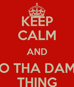 KEEP CALM AND DO THA DAMN THING