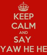 KEEP CALM AND SAY  YAW HE HE