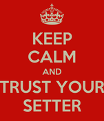 KEEP CALM AND TRUST YOUR SETTER