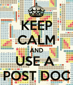 KEEP CALM AND USE A  POST DOC