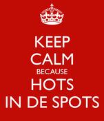 KEEP CALM BECAUSE HOTS IN DE SPOTS