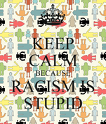 KEEP CALM BECAUSE RACISM IS STUPID
