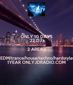 ONLY 10 DAYS  22 DJ,s 2 AREA,s EDM/trance/house/techno/hardstyle 1YEAR ONLYJDRADIO.COM