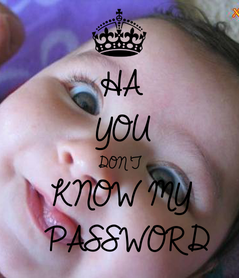 Poster: HA YOU DON'T KNOW MY  PASSWORD
