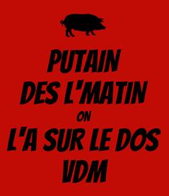 Poster: PUTAIN DES L'MATIN ON L'A SUR LE DOS VDM