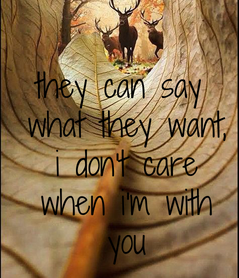 Poster: they can say  what they want,  i don't care  when i'm with  you