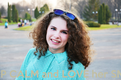 Poster:     CEEP CALM and LOVE her SMILE