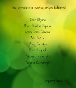 Poster:   Feliz aniversario a nuestros amigos bahianos.!   Vane Delgado Maria Soledad Espada Osmar Dario Cabrera Anto Speroni Yessy Cordoba Vane Jurijczuk Macarena Insaurralde Mariana Rothlisberger