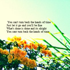 Poster:  You can't turn back the hands of time  Just let it go and you'll be fine   What's done is done and its alright   You cant turn back