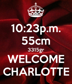 Poster: 10:23p.m. 55cm 3315gr WELCOME CHARLOTTE