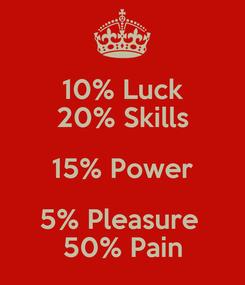 Poster: 10% Luck 20% Skills 15% Power 5% Pleasure  50% Pain