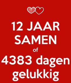 Poster: 12 JAAR SAMEN of 4383 dagen gelukkig