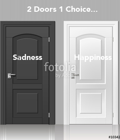 Poster: 2 Doors 1 Choice...     Sadness             Happiness