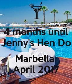 Poster: 4 months until Jenny's Hen Do  Marbella  April 2017