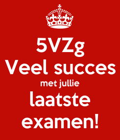 Poster: 5VZg Veel succes met jullie laatste examen!