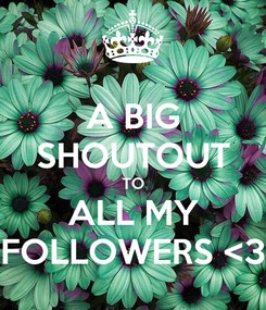 Poster: A BIG SHOUTOUT TO ALL MY FOLLOWERS <3