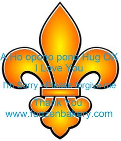 Poster: A Ho opono pono Hug OX  I Love You  I'm Sorry ~Please forgive me  Thank You   www.funzenbakery.com