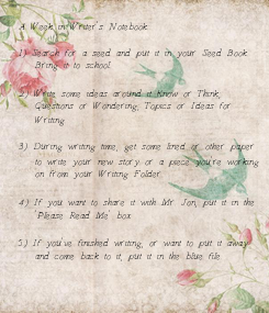 Poster: A Week in Writer's Notebook:  1) Search for a seed and put it in your Seed Book.    Bring it to school.  2) Write some ideas around it- Know or Think;
