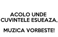 Poster: ACOLO UNDE  CUVINTELE ESUEAZA,  MUZICA VORBESTE!