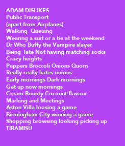 Poster: ADAM DISLIKES