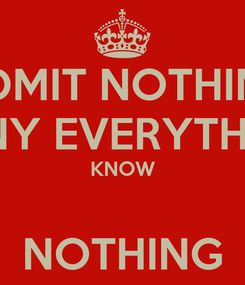 Poster: ADMIT NOTHING DENY EVERYTHING KNOW  NOTHING