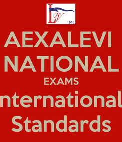 Poster: AEXALEVI  NATIONAL EXAMS International  Standards