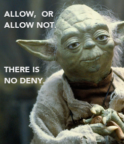 Poster: ALLOW,  OR  ALLOW NOT.    THERE IS  NO DENY.