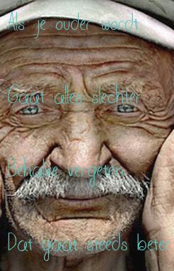 Poster: Als je ouder wordt  Gaat alles slechter  Behalve vergeten  Dat gaat steeds beter