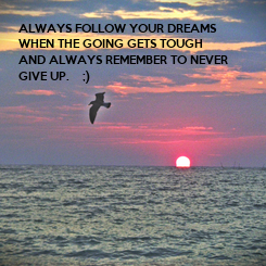 Poster: ALWAYS FOLLOW YOUR DREAMS  WHEN THE GOING GETS TOUGH AND ALWAYS REMEMBER TO NEVER GIVE UP.    ;)