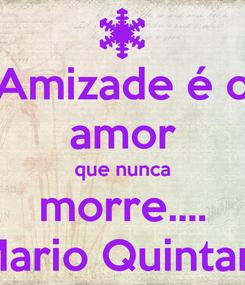 Poster: Amizade é o amor que nunca morre....  Mario Quintana