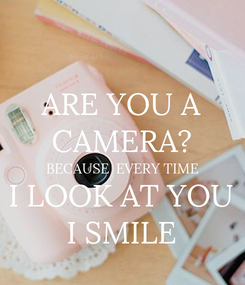 Poster: ARE YOU A CAMERA? BECAUSE  EVERY TIME I LOOK AT YOU I SMILE