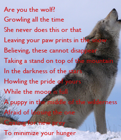 Poster: Are you the wolf? Growling all the time She never does this or that Leaving your paw prints in the snow Believing, these cannot disappear Taking a stand on top of the mountain In the darkness