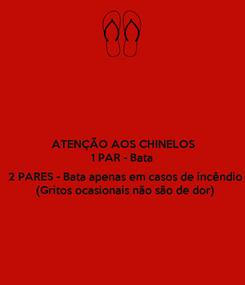Poster: ATENÇÃO AOS CHINELOS 1 PAR - Bata  2 PARES - Bata apenas em casos de incêndio (Gritos ocasionais não são de dor)