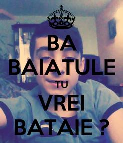 Poster: BA BAIATULE TU VREI BATAIE ?