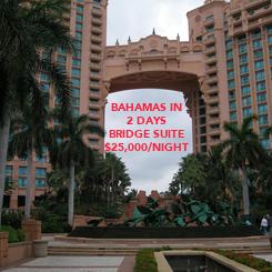 Poster: BAHAMAS IN 2 DAYS BRIDGE SUITE $25,000/NIGHT
