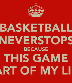 Poster: BASKETBALL NEVERSTOPS BECAUSE THIS GAME PART OF MY LIFE