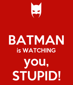 Poster:  BATMAN is WATCHING you, STUPID!