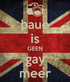 Poster: baue is GEEN gay meer