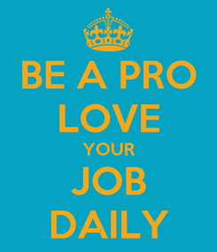 Poster: BE A PRO LOVE YOUR JOB DAILY