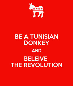 Poster: BE A TUNISIAN DONKEY AND BELEIVE  THE REVOLUTION