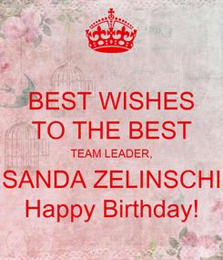 Poster: BEST WISHES TO THE BEST TEAM LEADER, SANDA ZELINSCHI Happy Birthday!