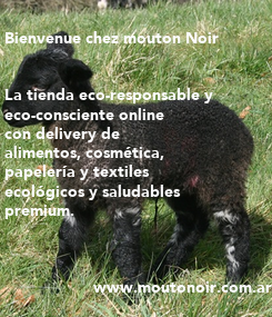 Poster:  Bienvenue chez mouton Noir   La tienda eco-responsable y  eco-consciente online  con delivery de  alimentos, cosmética,  papelería y textiles  ecológicos y saludables  premium.