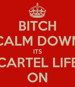 Poster: BITCH CALM DOWN ITS CARTEL LIFE ON