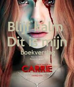 Poster: Blijf kalm  Dit is mijn  boekverslag