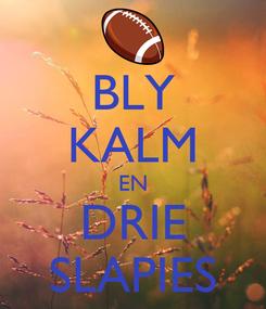 Poster: BLY KALM EN DRIE SLAPIES