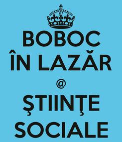 Poster: BOBOC ÎN LAZĂR @ ŞTIINŢE SOCIALE