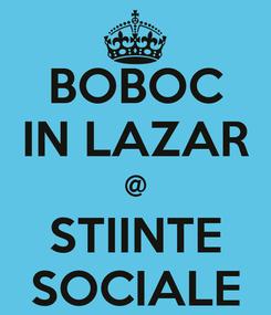 Poster: BOBOC IN LAZAR @ STIINTE SOCIALE